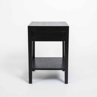 One drawer black bedside table with shelf, solid oak and oak veneer, drawer on wooden runners, tapered legs, visible grain