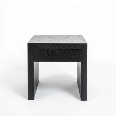 One drawer black bedside table, solid oak and oak veneer, drawer on wooden runners, visible grain