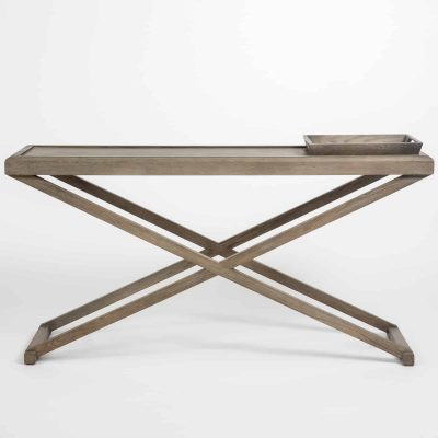 Console table in grey aged oak and oak veneer, 1 removable tray, crossed legs, visible grain