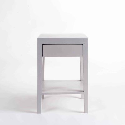 One drawer grey bedside table with shelf, solid oak and oak veneer, drawer on wooden runners, tapered legs, visible grain