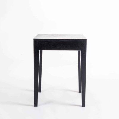 Black end table, solid oak and oak veneer, tapered legs, visible grain