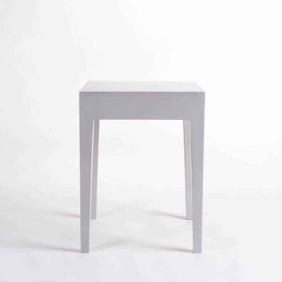Grey end table, solid oak and oak veneer, tapered legs, visible grain