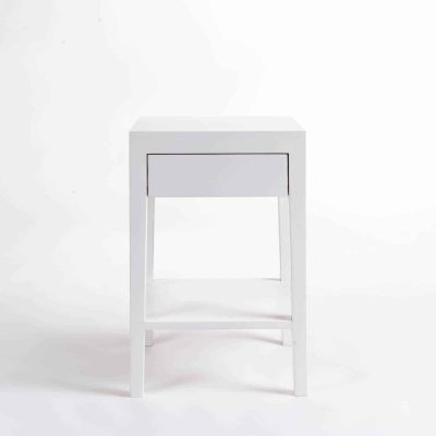 One drawer white bedside table with shelf, solid oak and oak veneer, drawer on wooden runners, tapered legs, visible grain