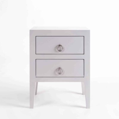 Two drawer grey bedside table, solid oak and oak veneer, drawers on wooden runners, tapered legs, visible grain, chrome hoop handles in matt finish
