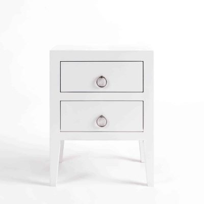 Two drawer white bedside table, solid oak and oak veneer, drawers on wooden runners, tapered legs, visible grain, chrome hoop handles in matt finish