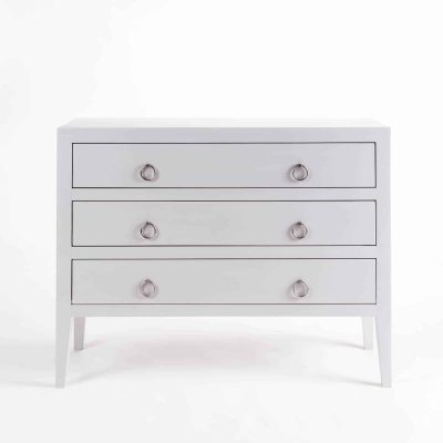 Three drawer grey chest of drawers, solid oak and oak veneer, drawers on wooden runners, tapered legs, visible grain, chrome hoop handles in matt finish