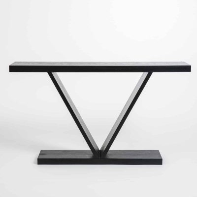 Black console table, oak veneer, visible grain