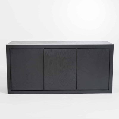 Three door black sideboard, oak and oak veneer, adjustable shelves, visible grain, magnetic push catch opening on doors