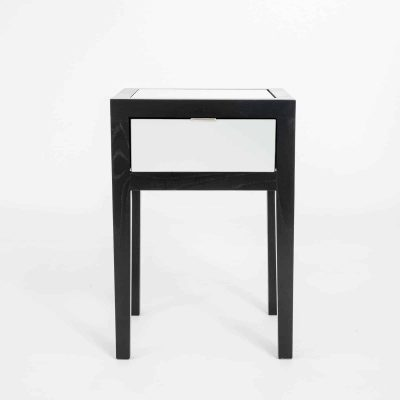 One drawer mirrored bedside table, mirrored drawer front and top, black solid oak and oak veneer, drawer on wooden runners, tapered legs, visible grain, stainless steel style handle