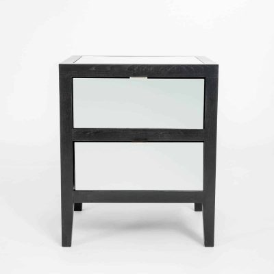 Two drawer mirrored bedside table, mirrored drawer fronts and top, black solid oak and oak veneer, drawers on wooden runners, tapered legs, visible grain, stainless steel style handles