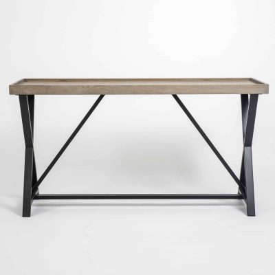 Console table, aged oak and oak veneer, crossed black metal legs, visible grain