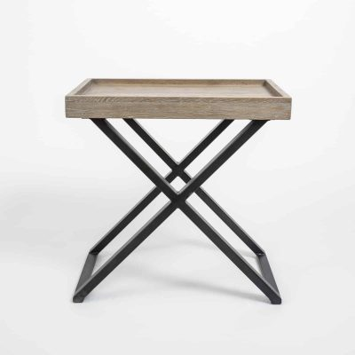 Rectangular end table in aged oak and oak veneer, crossed black metal legs, visible grain