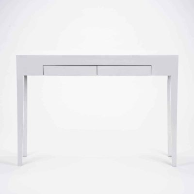 Two drawer white console table, solid oak and oak veneer, tapered legs, drawers on wooden runners, visible grain