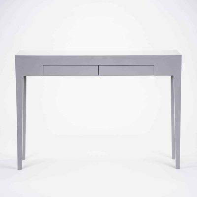 Two drawer grey console table, solid oak and oak veneer, tapered legs, drawers on wooden runners, visible grain