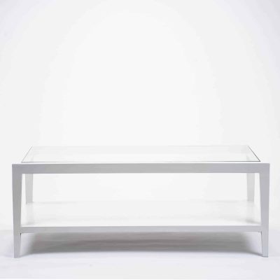 White coffee table with glass top, solid oak and oak veneer, one shelf, tapered legs, visible grain
