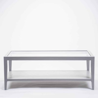 Grey coffee table with glass top, solid oak and oak veneer, one shelf, tapered legs, visible grain