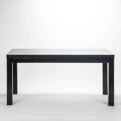Rectangular black dining table, solid oak and oak veneer, visible grain, requires assembly