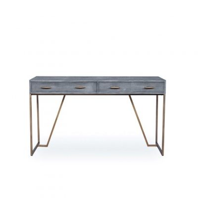 Two drawer grey desk, faux shagreen, antique brass style handles and legs, drawers on metal runners, walnut style wood on inside of drawers, handles and base require assembly