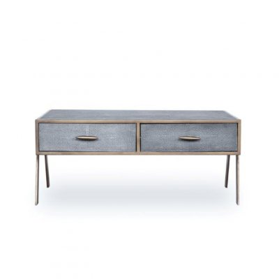 Four drawer grey coffee table, faux shagreen, antique brass style handles and legs, drawers on metal runners, walnut style wood on inside of drawers, handles require putting on