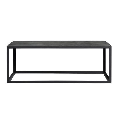Black industrial style coffee table, faux concrete top, slate grey metal frame