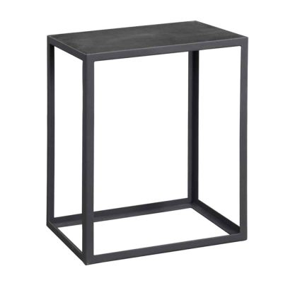 Black industrial style end table, faux concrete top, slate grey metal frame