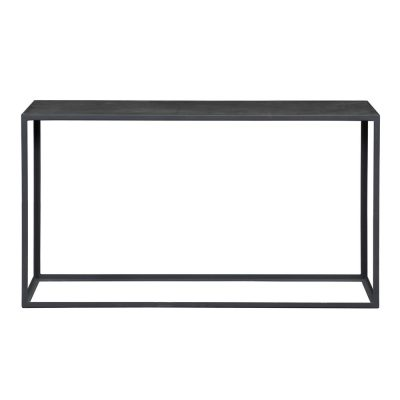 Black industrial style console table, faux concrete top, slate grey metal frame