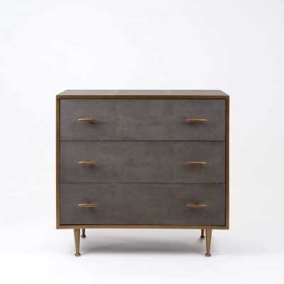Three drawer grey chest of drawers, faux shagreen, antique brass style handles and legs, drawers on metal runners, walnut style wood on inside of drawers, handles and base need assembly