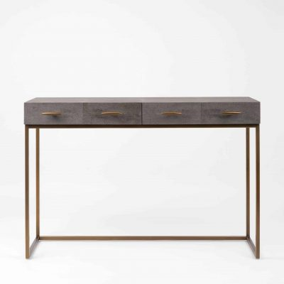 Two drawer grey console table, faux shagreen, antique brass style handles and legs, drawers on metal runners, walnut style wood on inside of drawers, handles and base require assembly