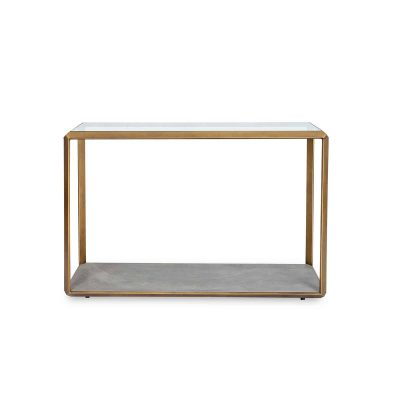 Console table, glass top, antique style brass surround, grey faux shagreen base