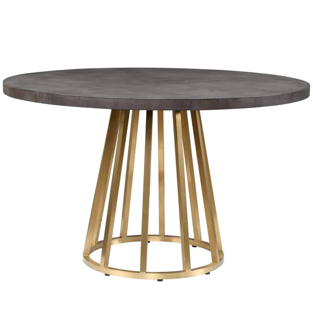Faux dark grey concrete top with brass base, requires assembly