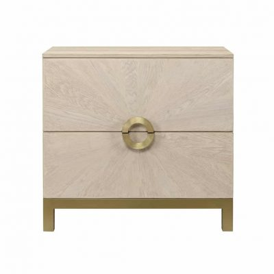 Two drawer chest of drawers, oak and oak veneer, sunburst sandblasted effect, gold style metal base, gold style semi circular handles