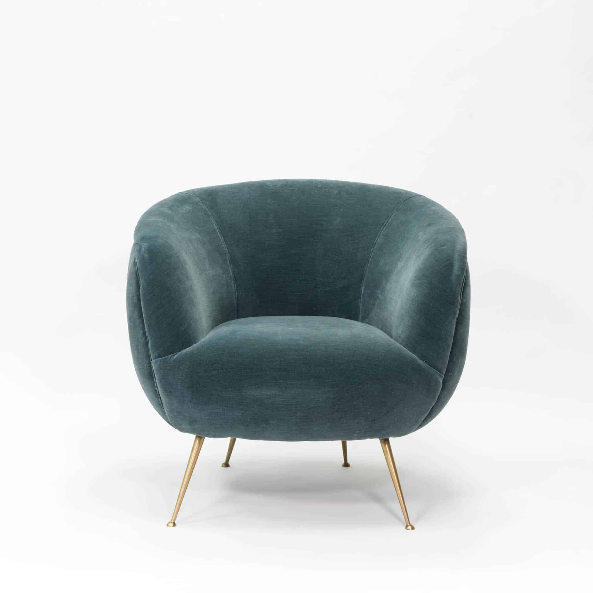 Green velvet club chair with gold legs