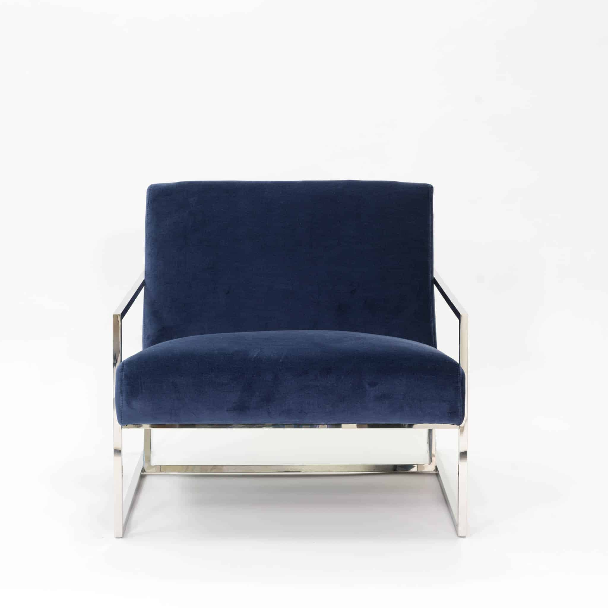 Navy velvet style viscose chair in chrome style frame