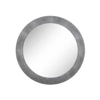 Hampton round grey shagreen and brass mirror