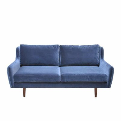 2 seater sofa in navy with polyester linen mix