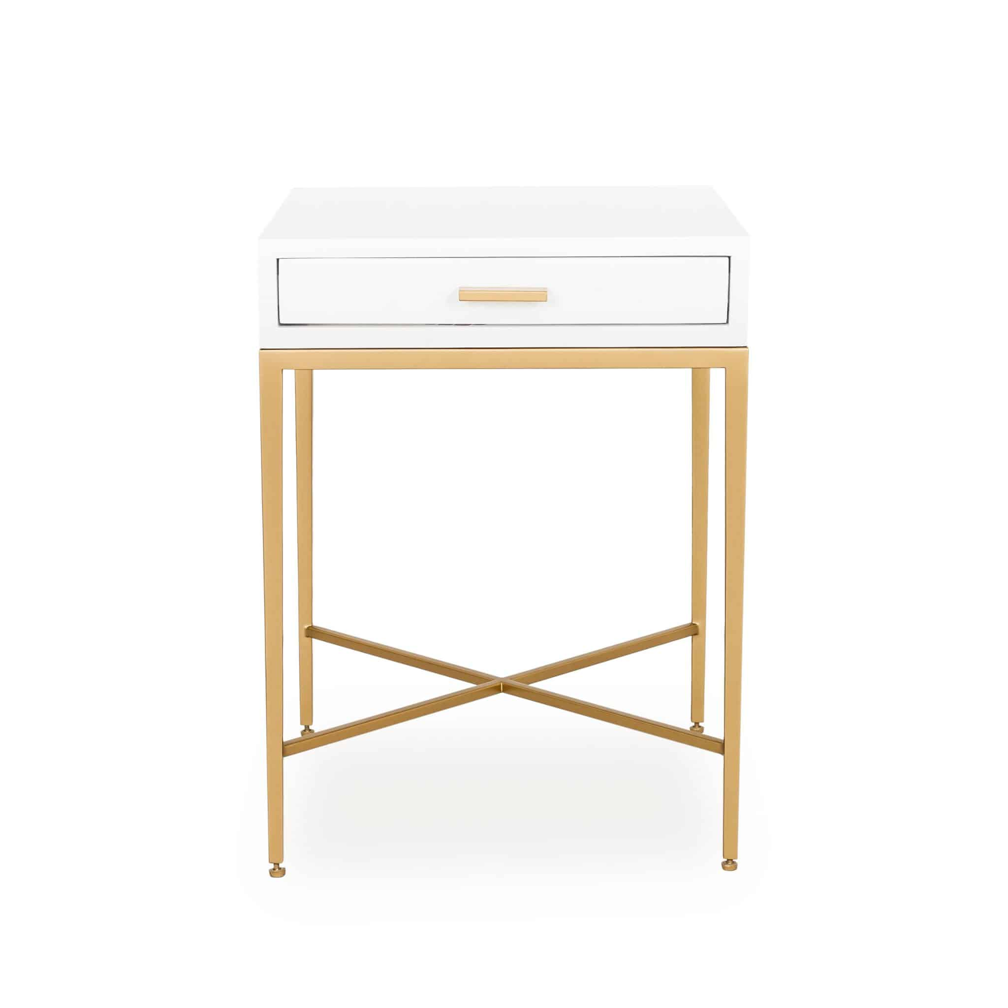 Berkeley bedside table in high gloss finish with gold handles and fine legs