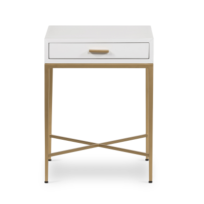 One drawer white bedside