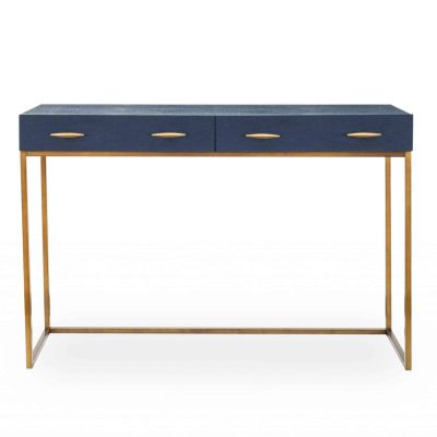 Willersley console table in navy faux shagreen