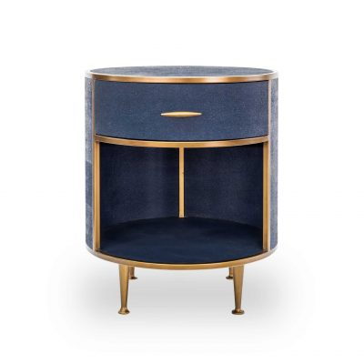 Willersley bedside table in navy faux shagreen with brass style surround