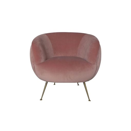 Pale pink velvet club chair, gold style legs, requires assembly, Crib 5