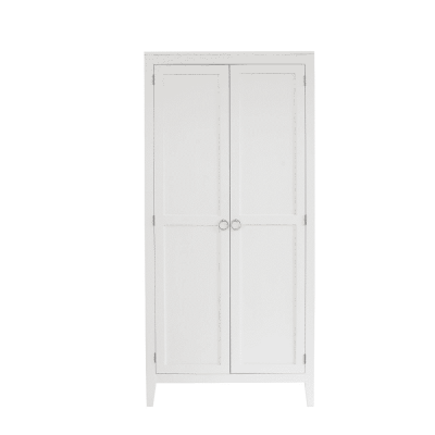 Two door white wardrobe, solid oak and oak veneer, tapered legs, visible grain, chrome hoop handles in matt finish, hanging rail, one shelf