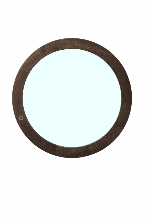 Round mirror in seared oak