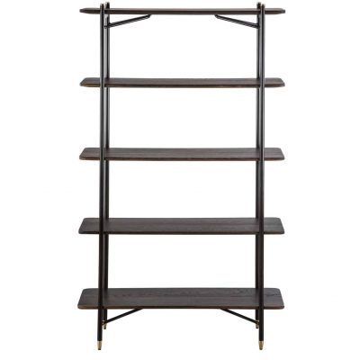 Shelving unit in seared oak with brass circular detail, black metal and brass legs