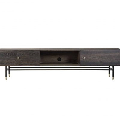 Broughton TV unit in seared oak, black metal and brass legs
