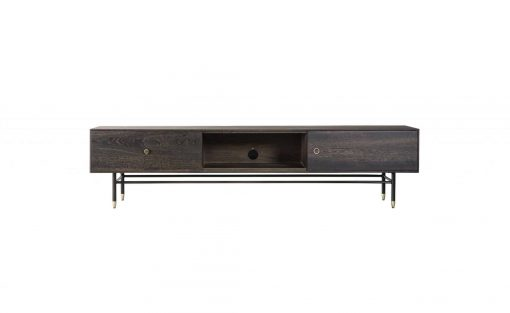 Broughton TV unit in seared oak, black metal and brass legs