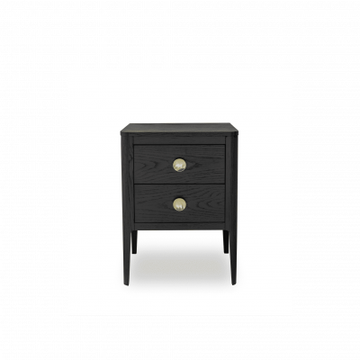 Abberley bedside table in dark stained oak and oak veneer