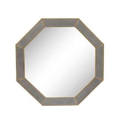 Grey octagonal mirror, faux shagreen, antique style brass surround also available as a console table or coffee table
