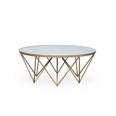 Round coffee table, white marble print glass top, gold style legs