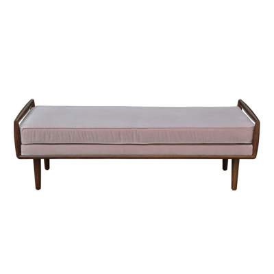 Pale blush pink cotton velvet ottoman, walnut removable leg and handle