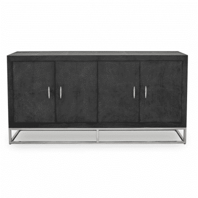 Hampton sideboard in black faux shagreen with chrome legs and handles (handles need putting on, found on inside of unit), four doors